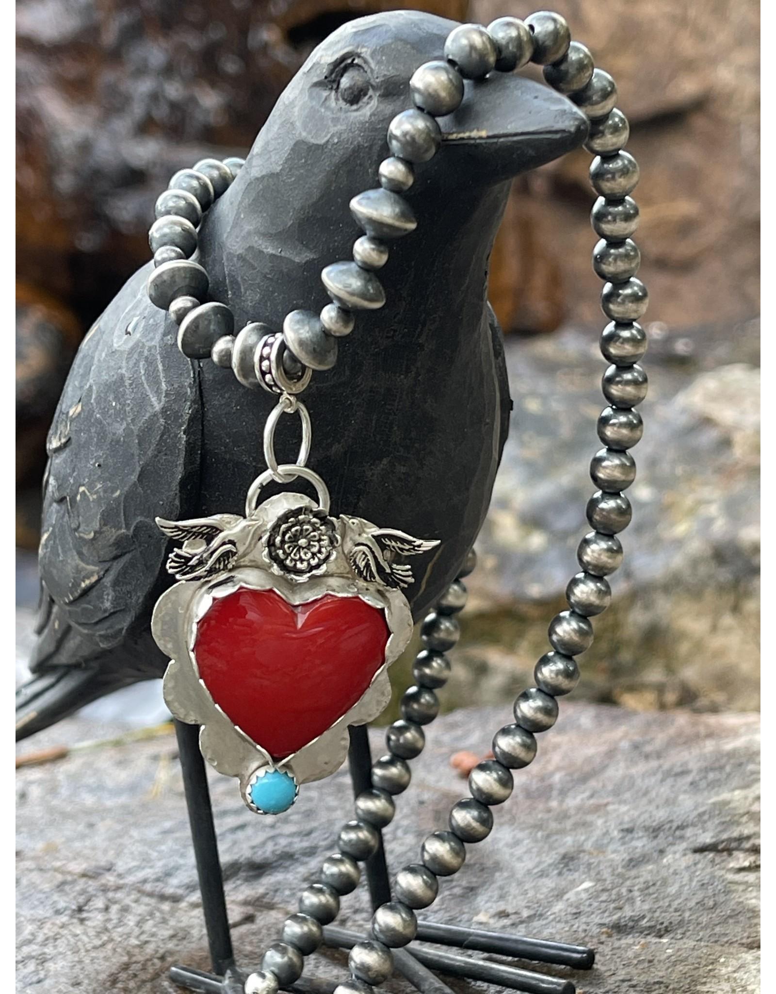 Annette Colby - Jeweler Rosarita Heart Pendant, Birds & Flower Necklace  - Annette Colby