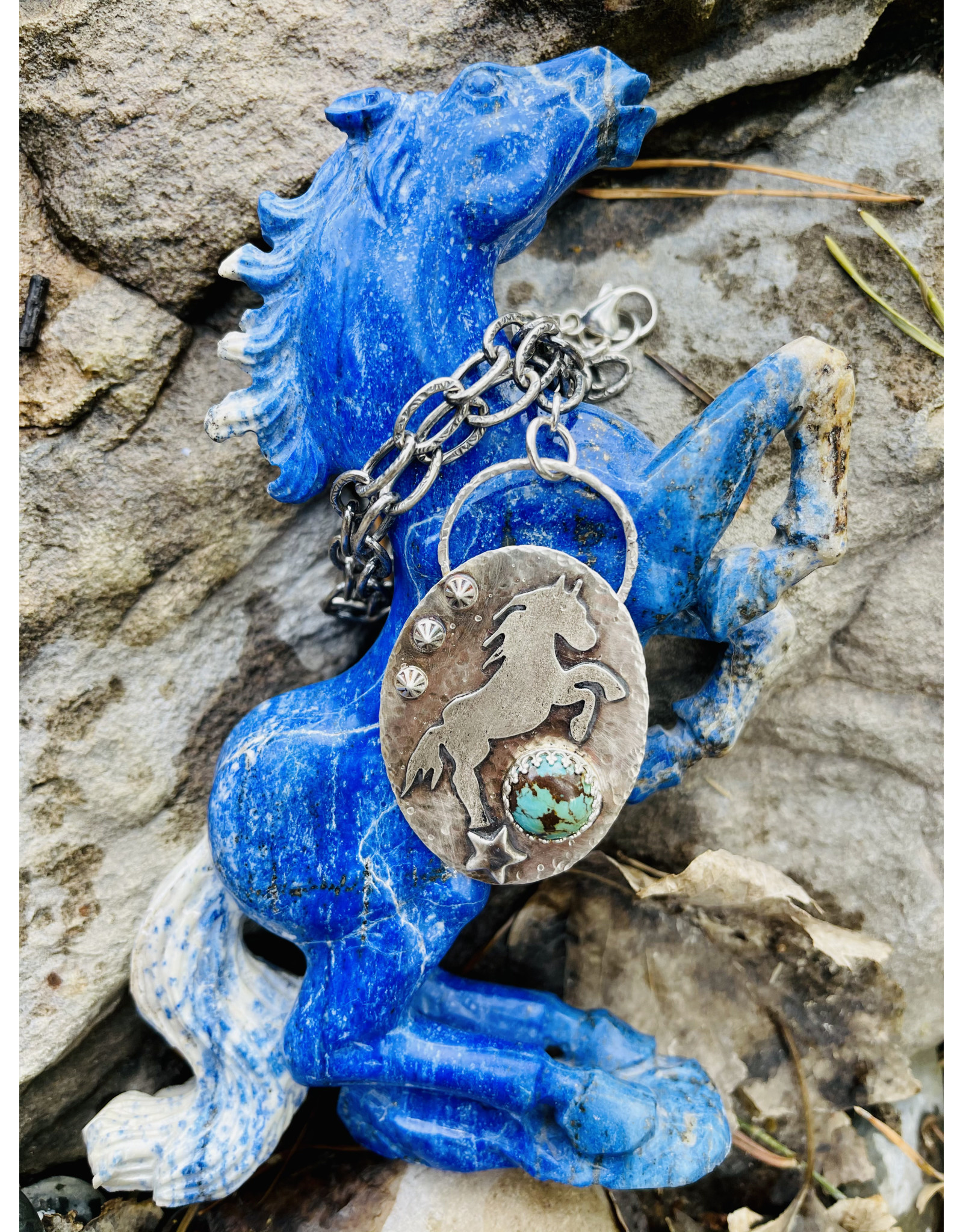 Annette Colby - Jeweler Sterling Horse Kingman Turquoise Link Chain Necklace - Annette Colby