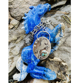 Annette Colby - Jeweler Sterling Horse Kingman Turquoise Link Chain Necklace