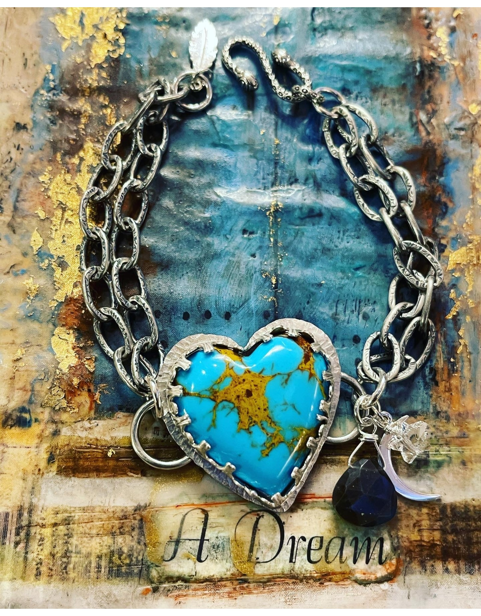 Annette Colby - Jeweler Kingman Turquoise Heart Double Chain Bracelet - Annette Colby