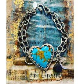 Annette Colby - Jeweler Kingman Turquoise Heart Double Chain Bracelet