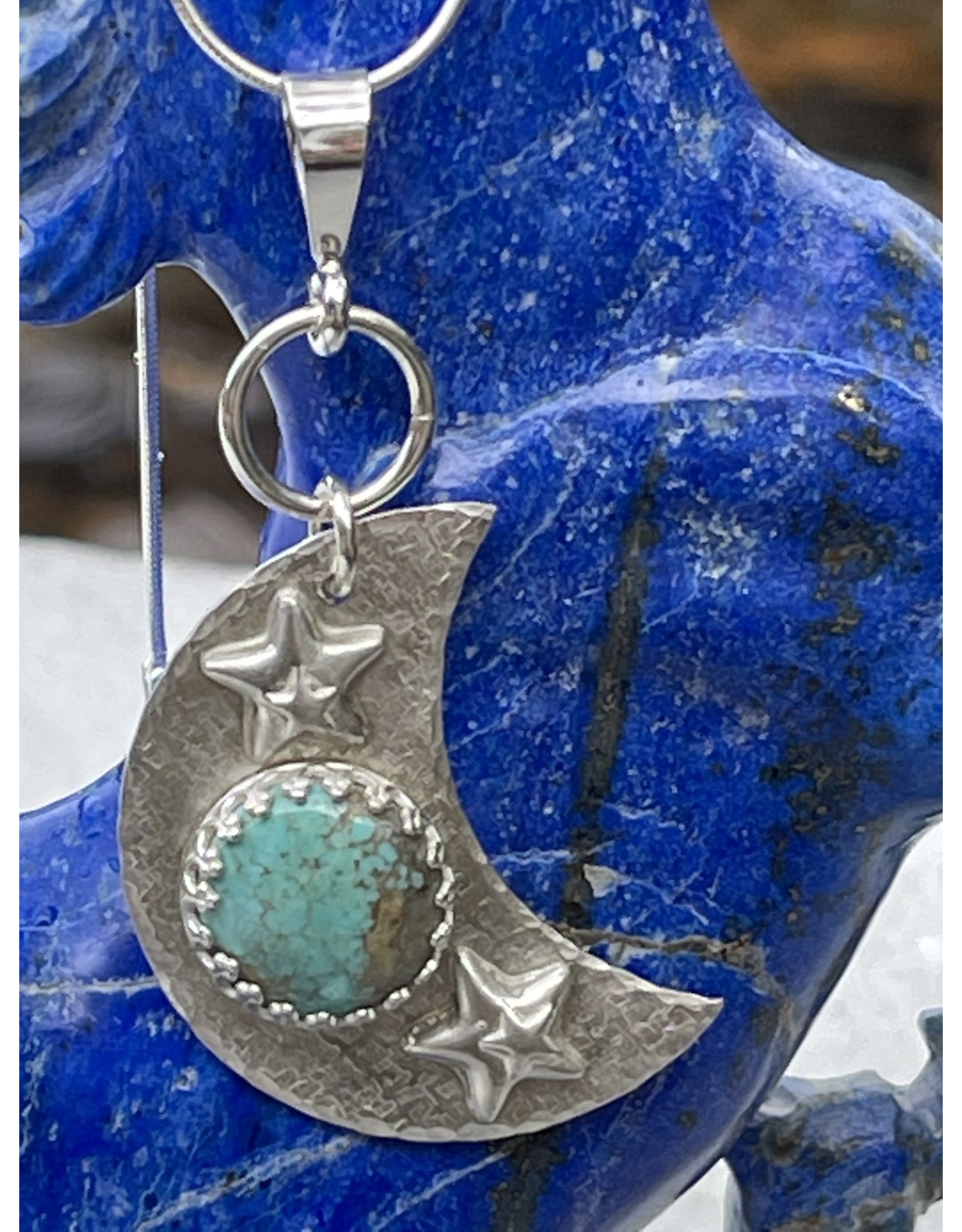 Annette Colby - Jeweler Sterling Crescent Moon & Stars Turquoise Necklace - Annette Colby