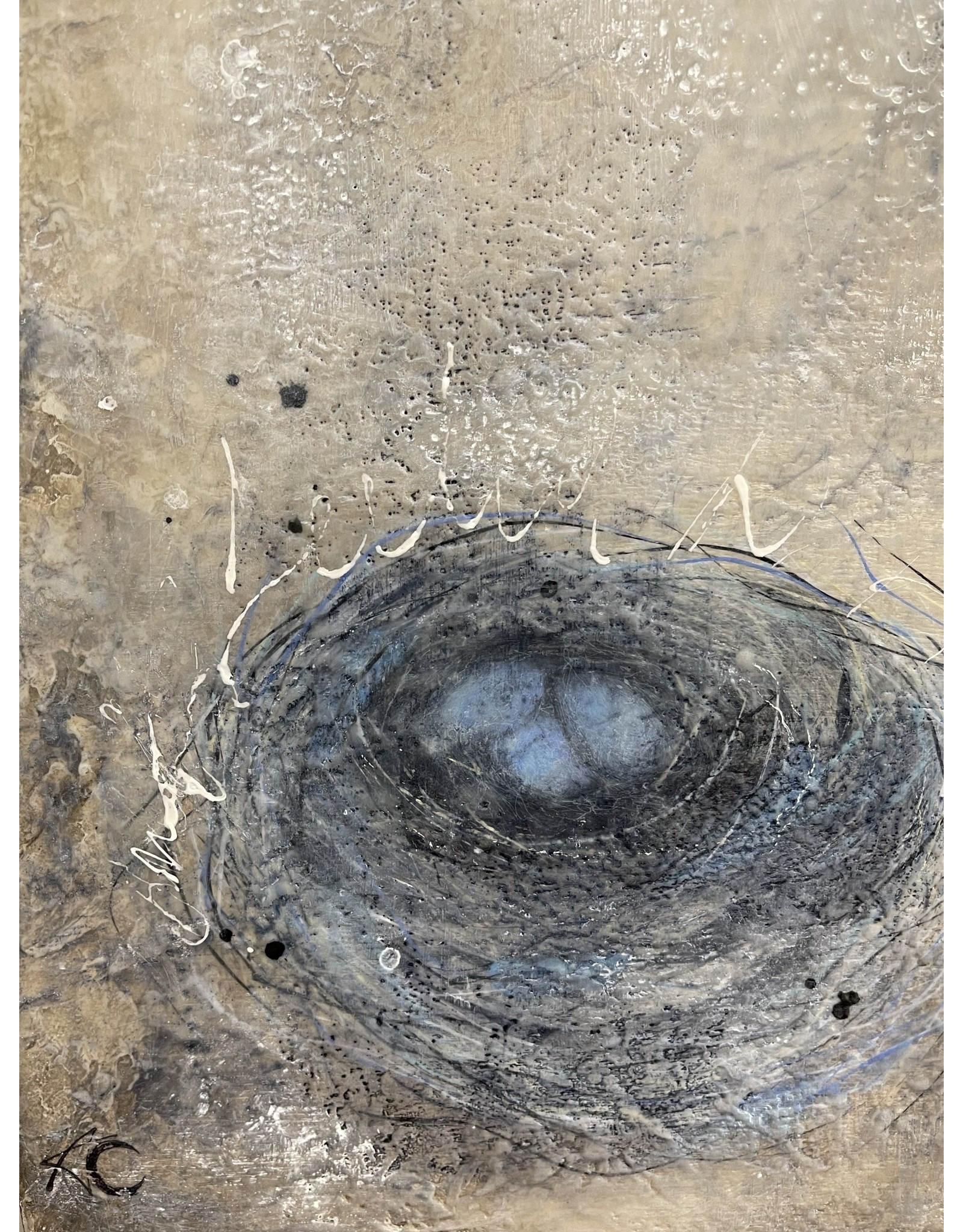 Annette Colby - Painter Love is in the Air - Bird & Nest Encaustic Painting - Annette Colby