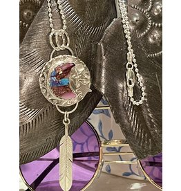 Annette Colby - Jeweler Purple Dahlia Moon Star Feather  Necklace