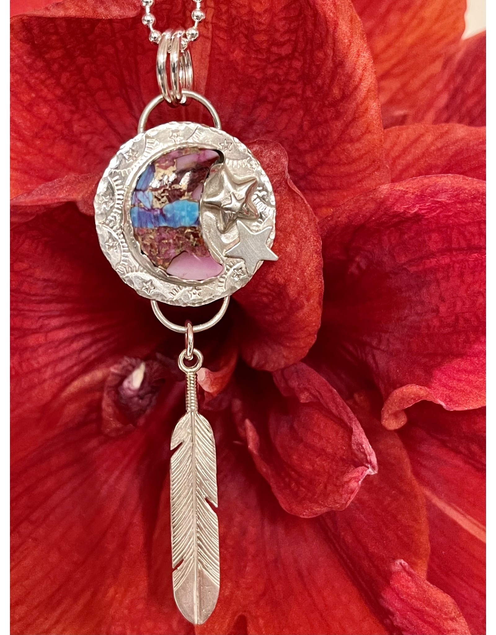 Annette Colby - Jeweler Purple Dahlia Moon Star Feather  Necklace - Annette Colby