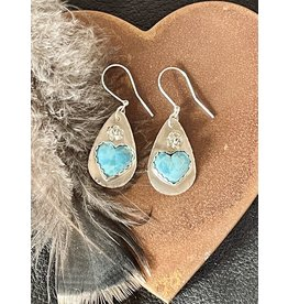 Annette Colby - Jeweler Turquoise Heart Earrings with Rose - AC