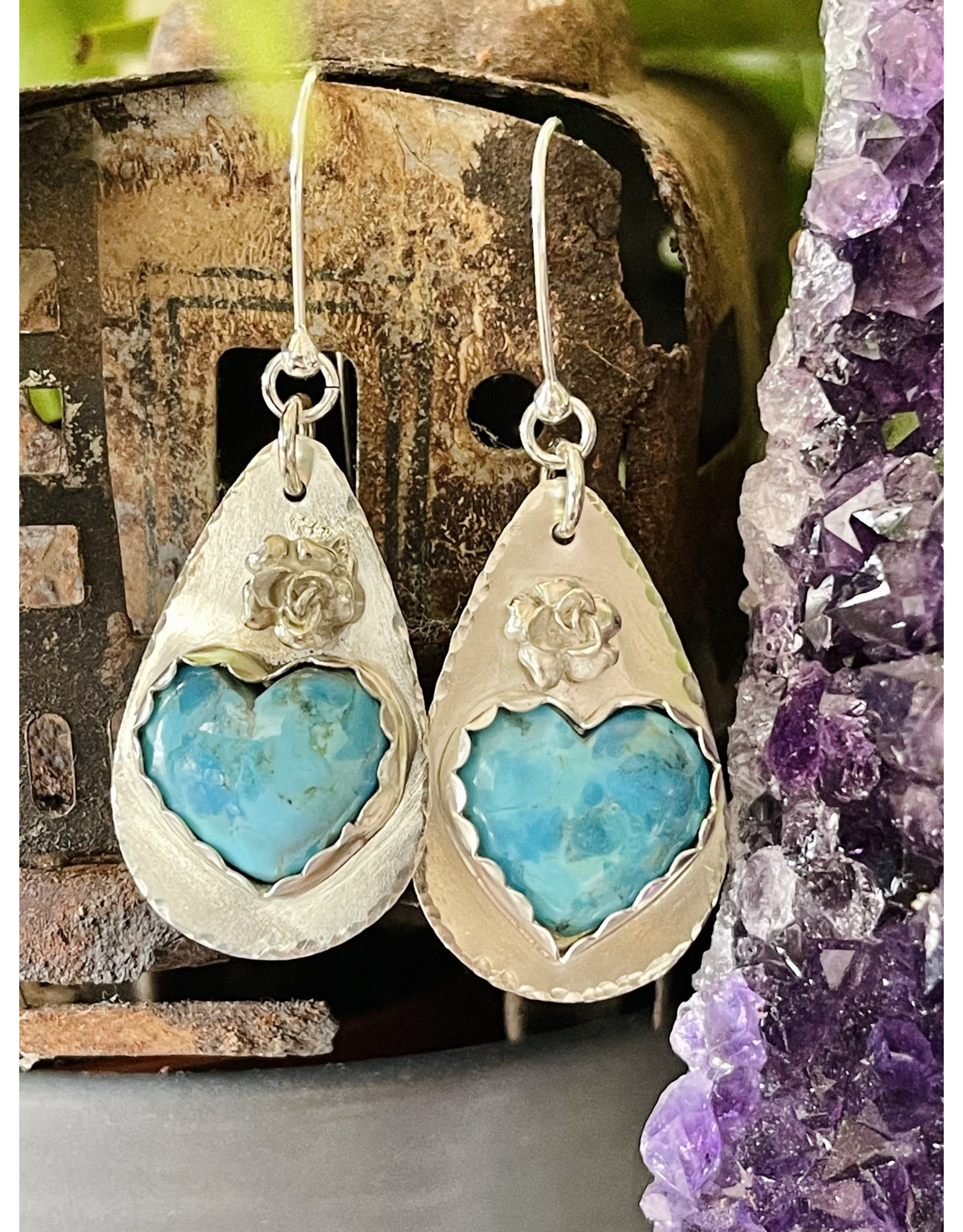 Annette Colby - Jeweler Turquoise Heart Earrings with Rose - Annette Colby