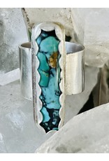 Annette Colby - Jeweler Kingman Turquoise Bar Sterling Ring Size 6 - Annette Colby