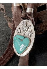 Annette Colby - Jeweler Turquoise Horse & Stars on Leather Necklace - Annette Colby