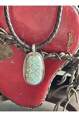 Annette Colby - Jeweler Old #8 Mine Turquoise Pendant on Leather Necklace - Annette Colby