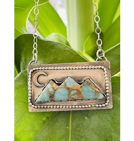 Annette Colby - Jeweler Amazonite Triple Mountain & Moon Necklace