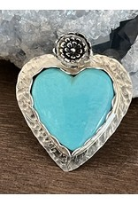 Annette Colby - Jeweler Kingman Turquoise Heart with Flower Ring, Size 7 - Annette Colby