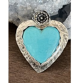 Annette Colby - Jeweler Kingman Turquoise Heart with Flower Ring, Size 7