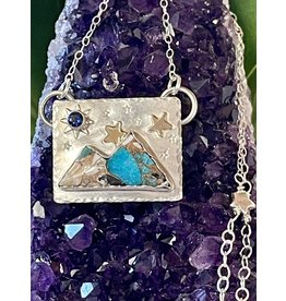 Annette Colby - Jeweler Kingman Turquoise Sapphire Double Mountain & Moon Necklace