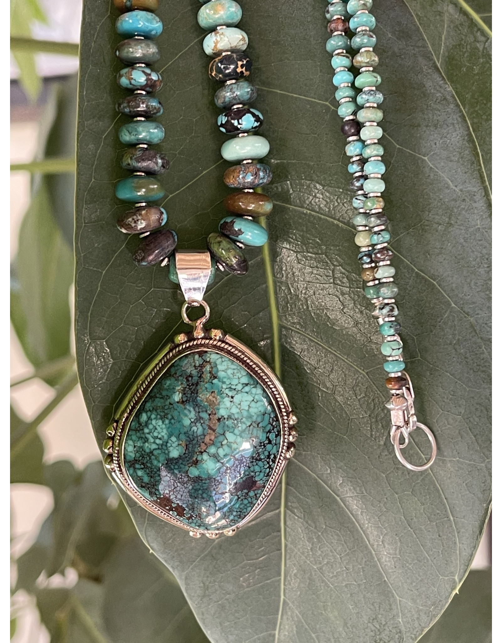 Turquoise Pendant w/Turquiose Necklace by Annette Colby