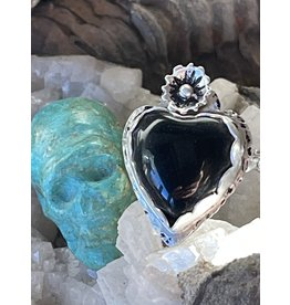 Annette Colby - Jeweler Black Onyx Heart Ring with Flower Size 6.75