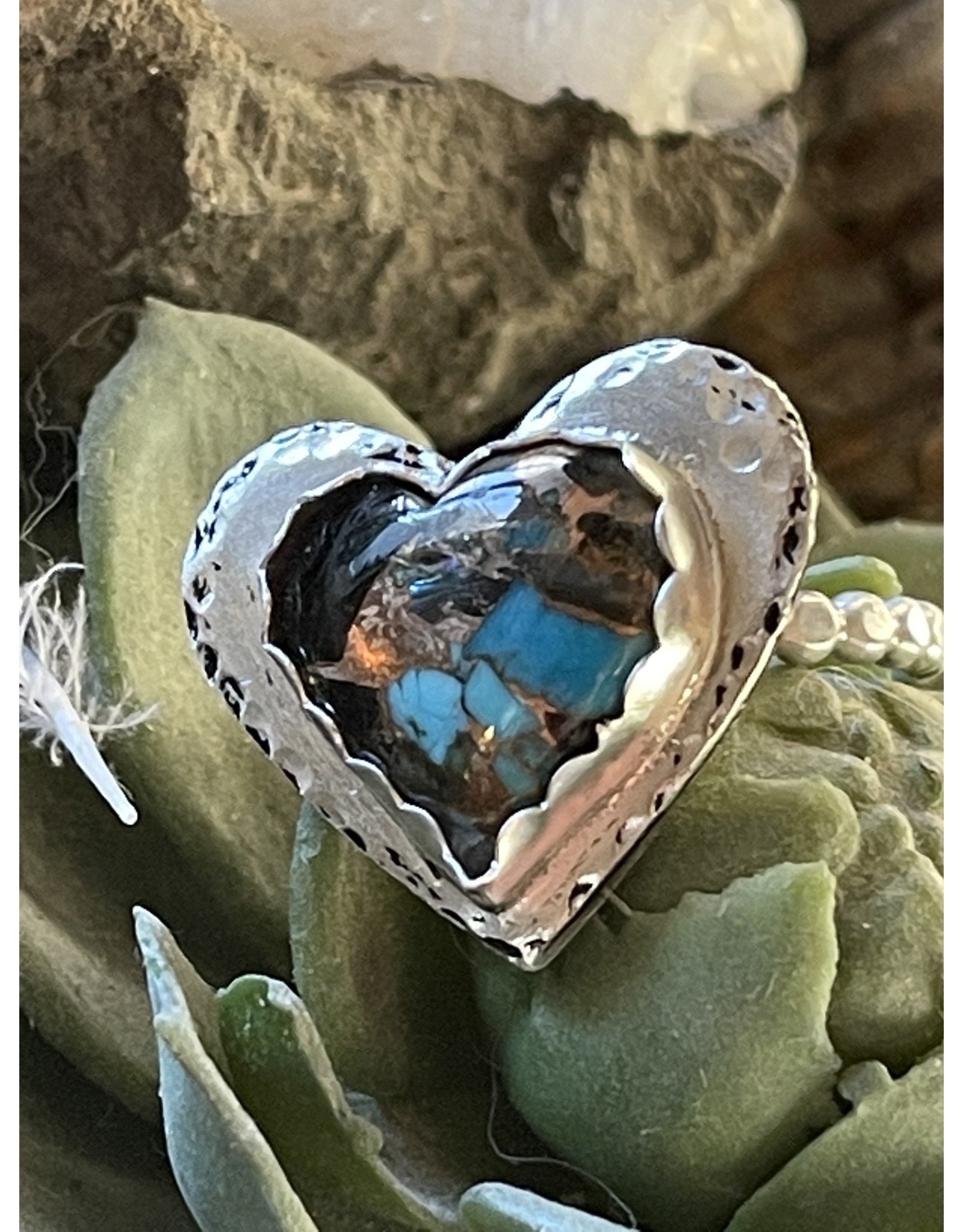 Annette Colby - Jeweler Kingman Turquoise in Bronze Heart Ring  Size 9 by Annette Colby