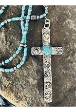 Annette Colby - Jeweler Studded Sterling Cross on Turquoise Necklace - Annette Colby