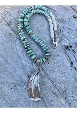 Annette Colby - Jeweler Sterling Feather Turquoise Disk Necklace by Annette Colby