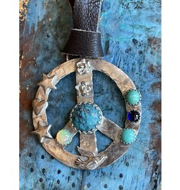 Annette Colby - Jeweler Sterling Peace Symbol Turquoise Opal Leather Necklace