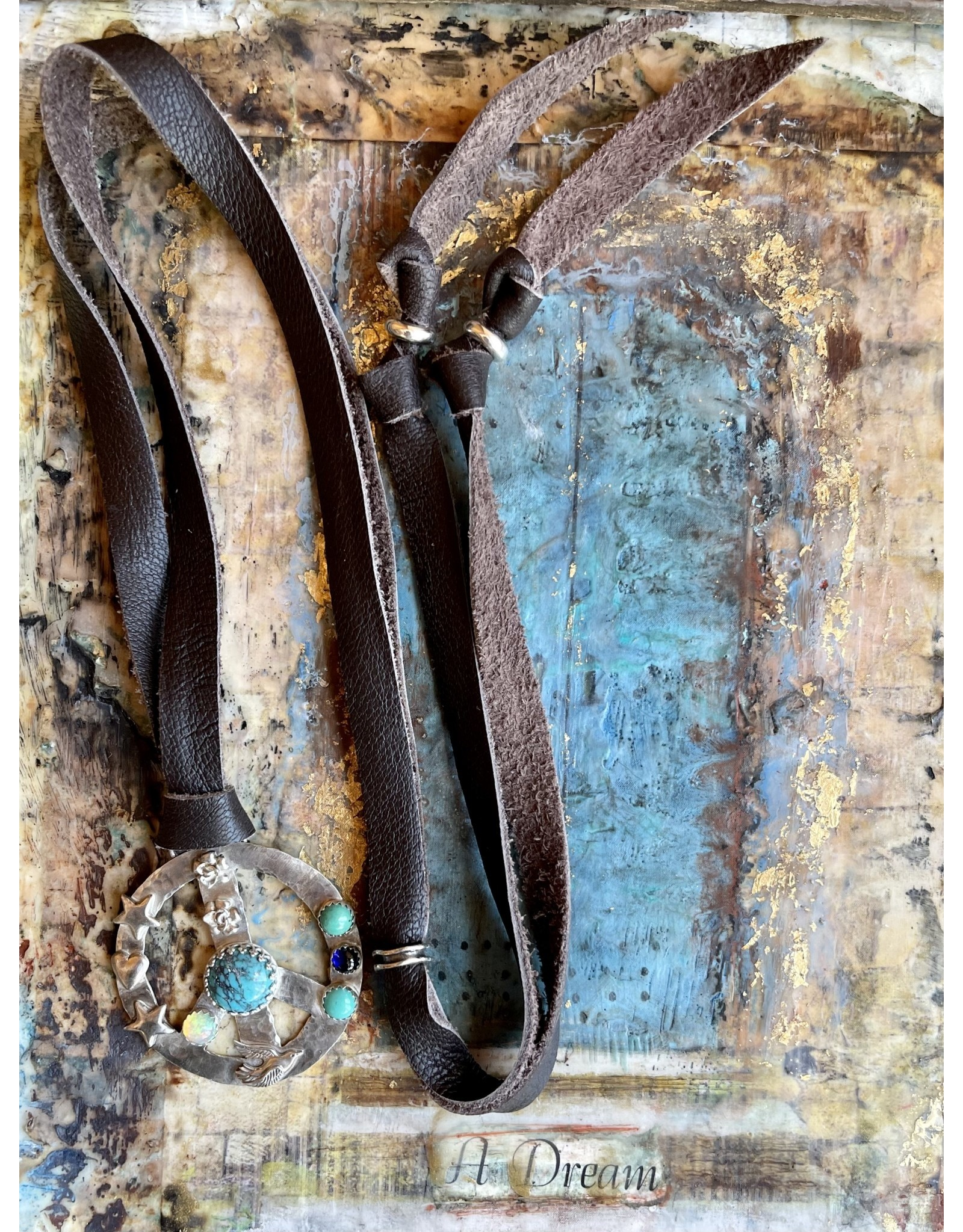 Annette Colby - Jeweler Sterling Peace Symbol Turquoise Opal Leather Necklace by Annette Colby
