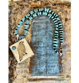 Annette Colby - Jeweler Sterling & Brass Raven, Kingman Turquoise Necklace