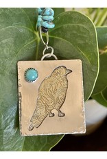 Annette Colby - Jeweler Sterling & Brass Raven, Kingman Turquoise Necklace by Annette Colby