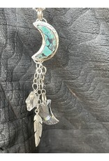 Annette Colby - Jeweler Kingman Turquoise Moon With Swarovski Necklace by Annette Colby