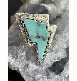 Annette Colby - Jeweler Baja Turquoise Lightning Bolt Ring Size 7