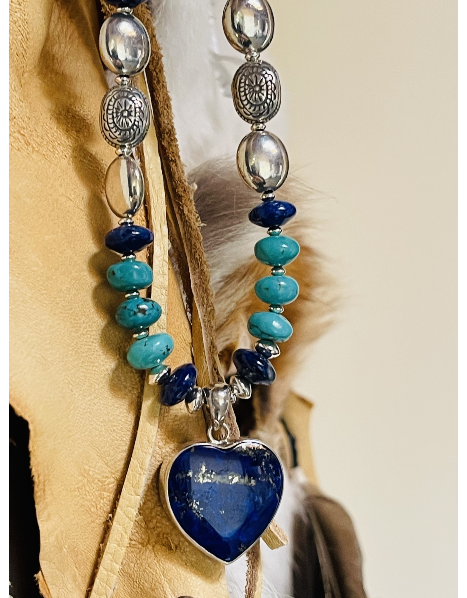Annette Colby - Jeweler Lapis Heart Pendant with Turquoise & Lapis Necklace by Annette Colby