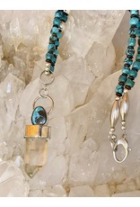 Phantom Quartz Crystal w/Turquoise Necklace by Annette Colby