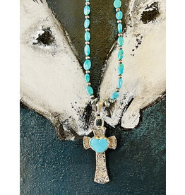 Annette Colby - Jeweler Sterling Silver Cross with Turquoise Heart Necklace