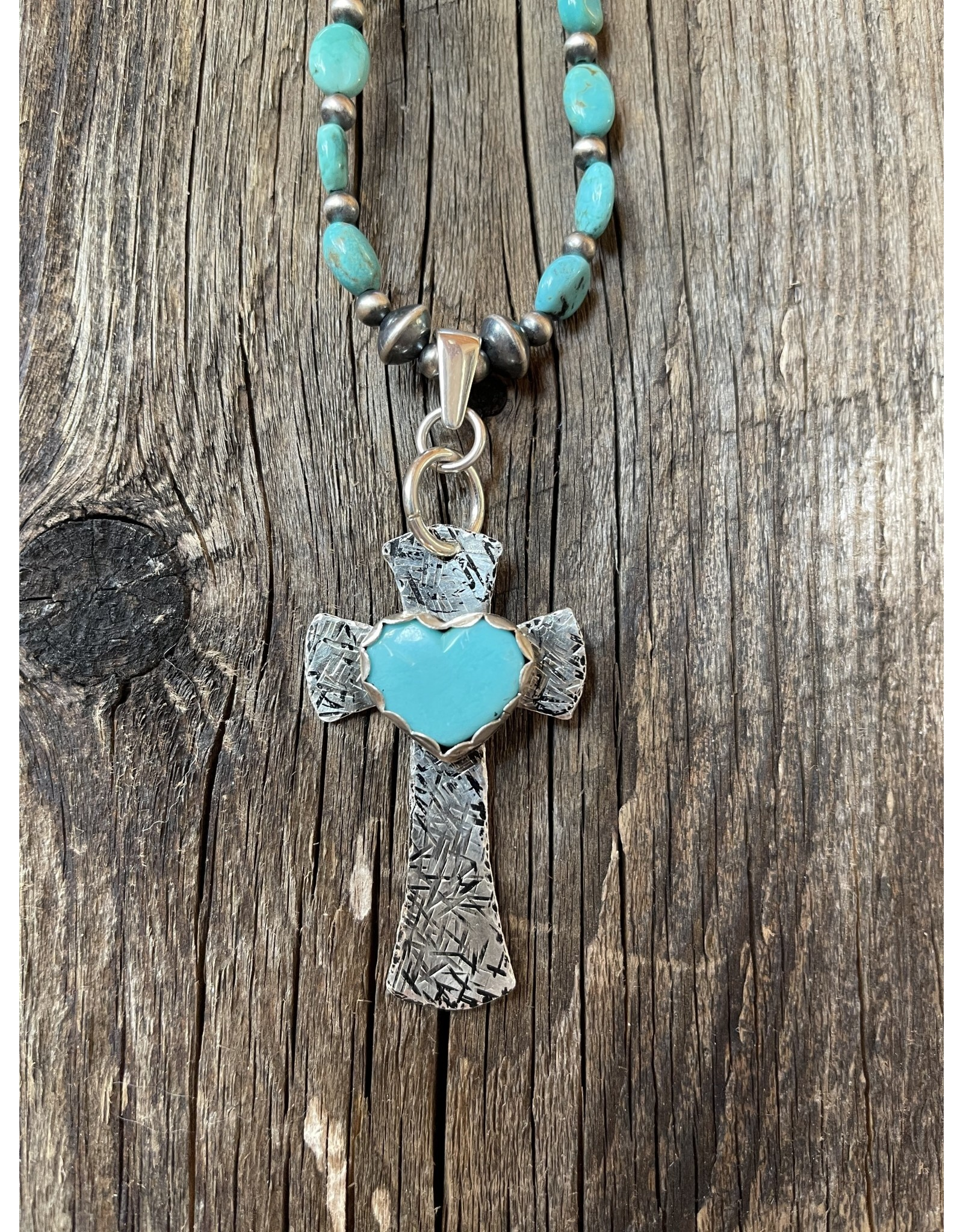 Annette Colby - Jeweler Sterling Silver Cross with Turquoise Heart Necklace by Annette Colby