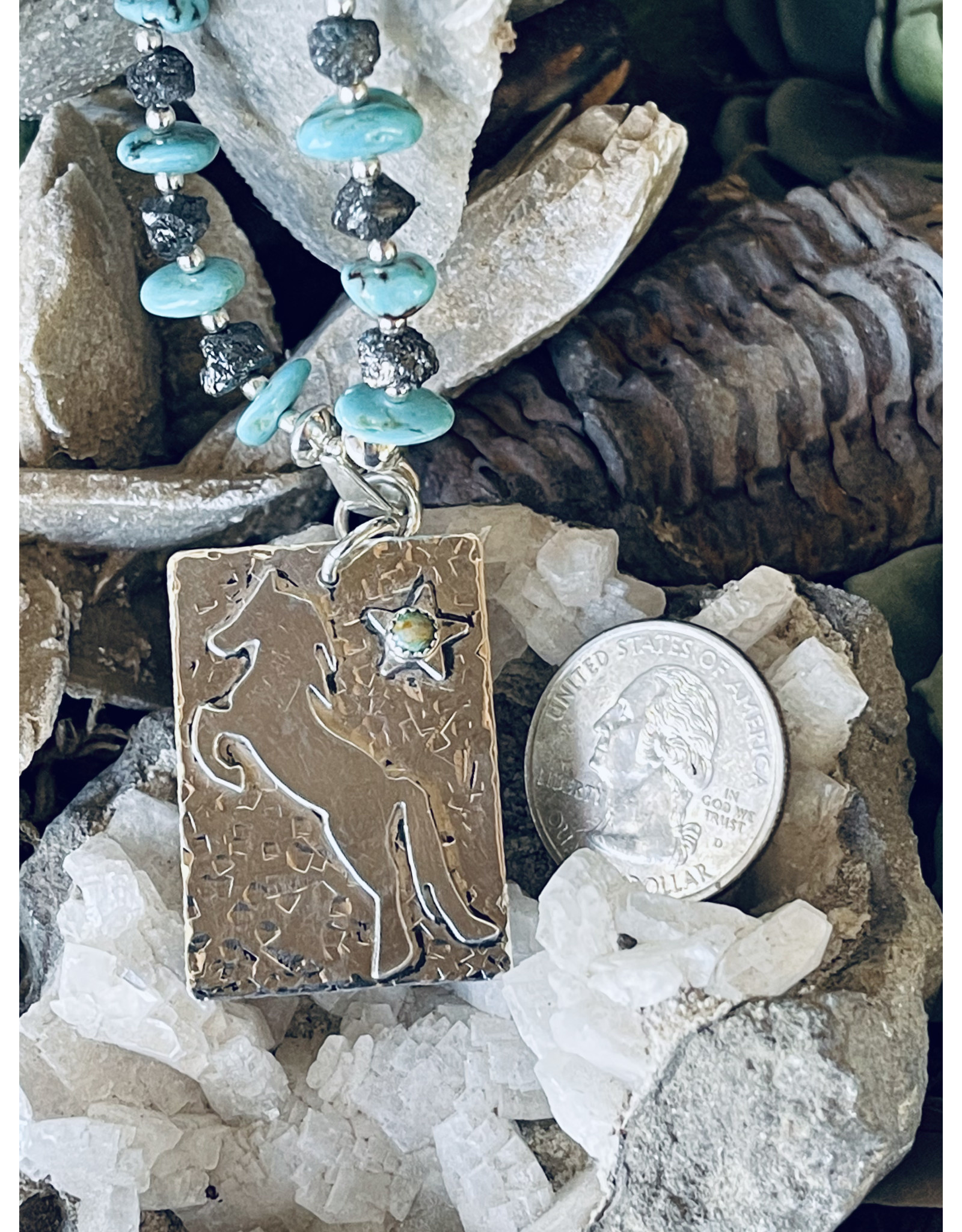 Annette Colby - Jeweler Sterling Pony Tag on Kingman Turquoise with Black Diamonds by Annette Colby
