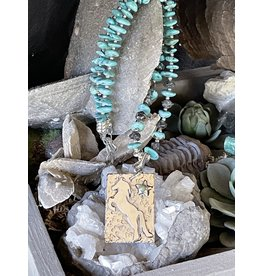 Annette Colby - Jeweler Sterling Pony Tag on Kingman Turquoise with Black Diamonds