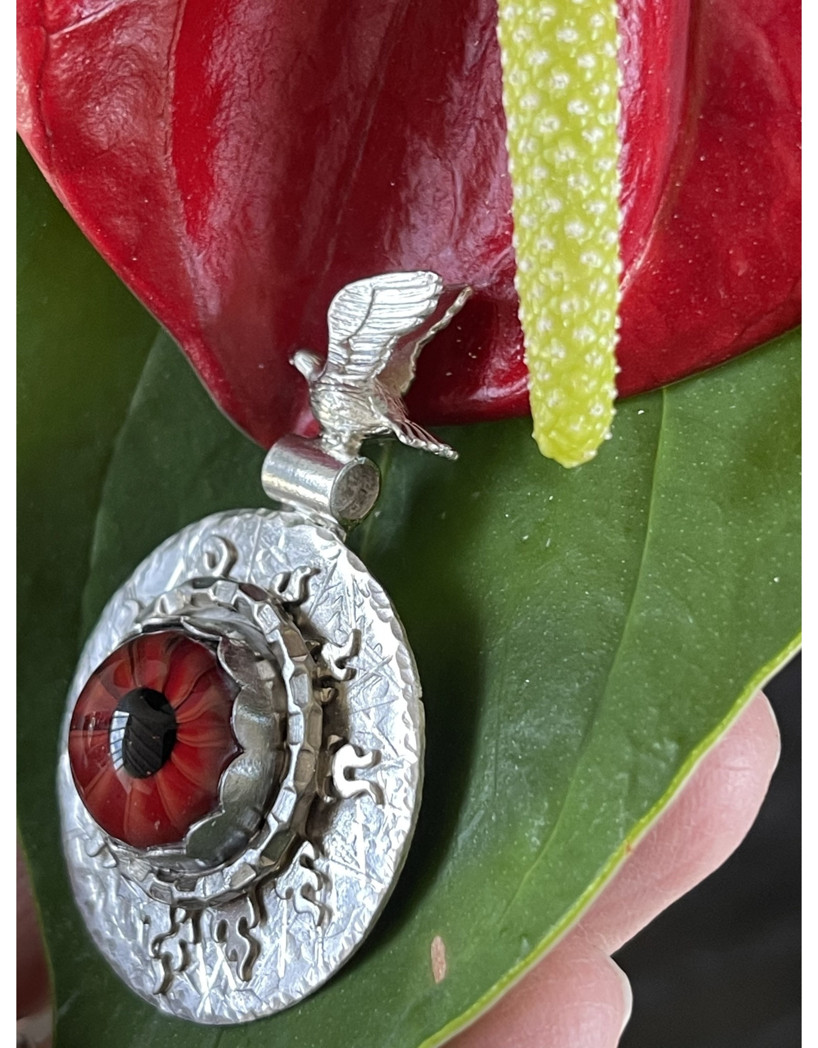 Annette Colby - Jeweler Lampwork Glass Red Eye Necklace Flying Bird by Annette Colby