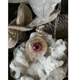 Annette Colby - Jeweler Lampwork Glass Red Eye Necklace Flying Bird