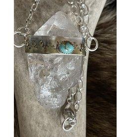 Annette Colby - Jeweler Quartz Crystal Skull Necklace Turquoise  Fire Bezel
