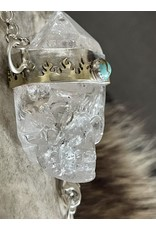 Annette Colby - Jeweler Quartz Crystal Skull Necklace Turquoise  Fire Bezel by Annette Colby
