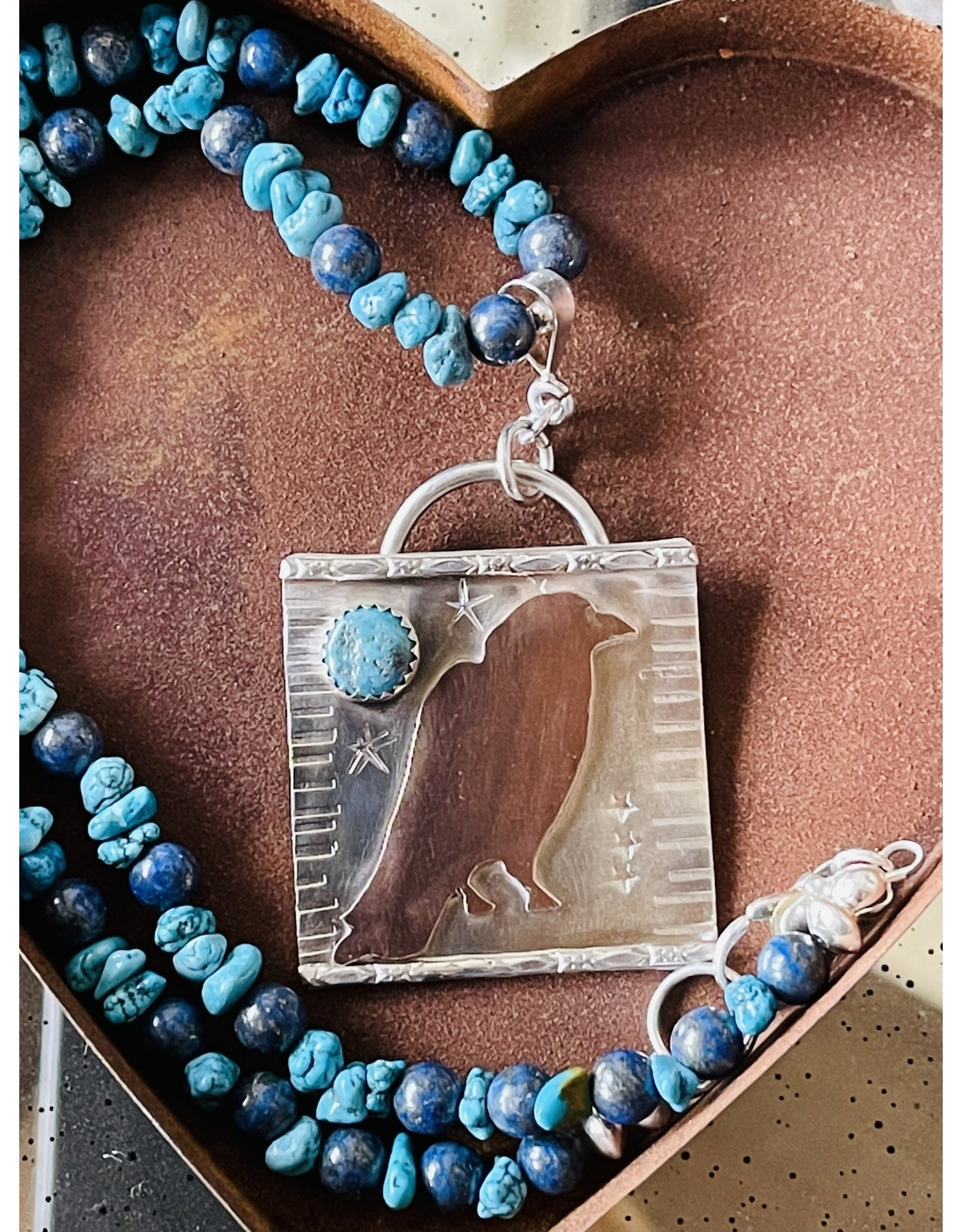 Annette Colby - Jeweler Copper Raven on Sterling with Turquoise Necklace by Annette Colby