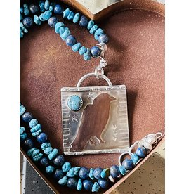 Annette Colby - Jeweler Copper Raven on Sterling with Turquoise Necklace