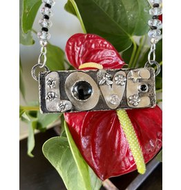 Annette Colby - Jeweler Sterling Love Onyx Quartz Crystal Necklace