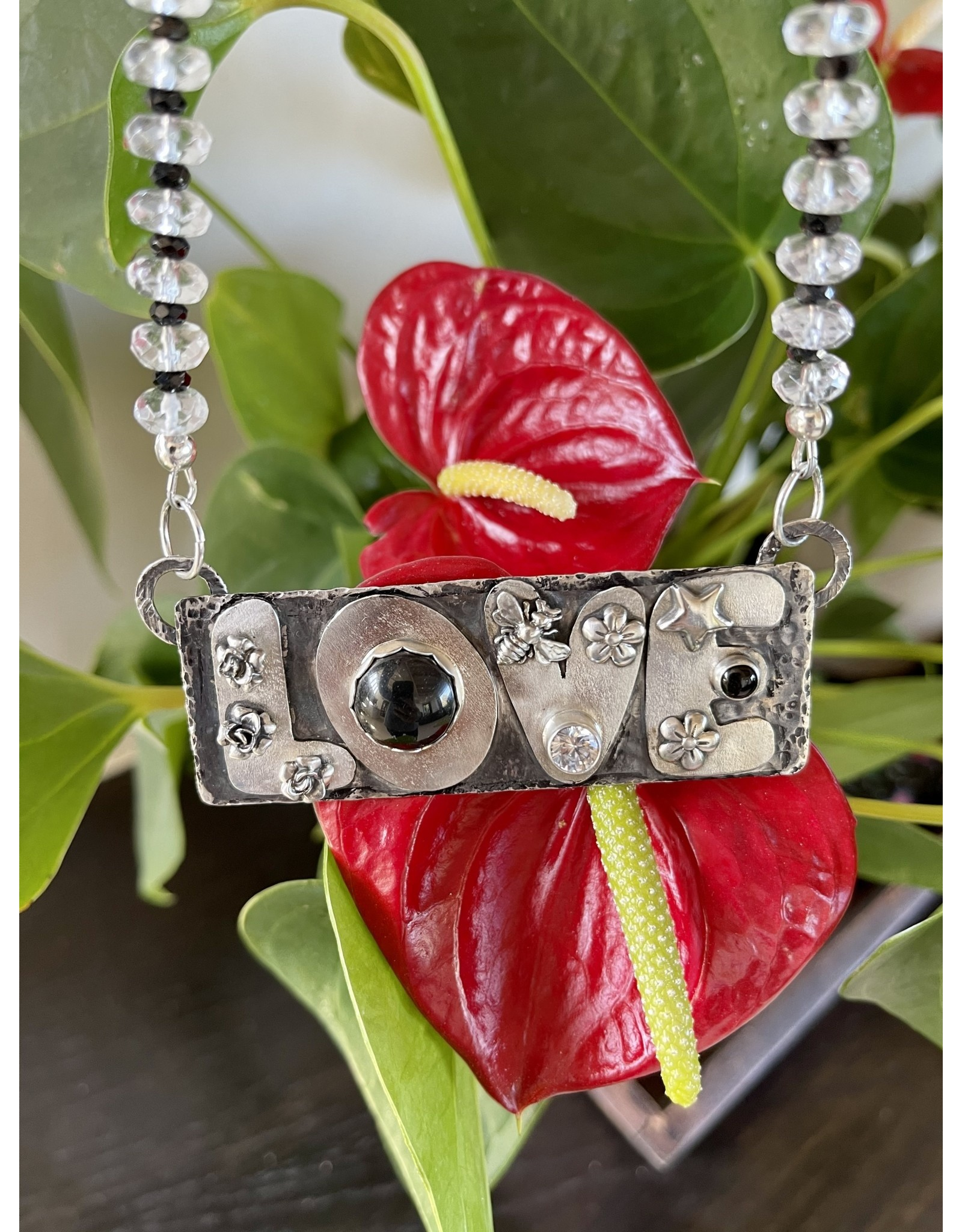 Annette Colby - Jeweler Sterling Love Onyx Quartz Crystal Necklace by Annette Colby