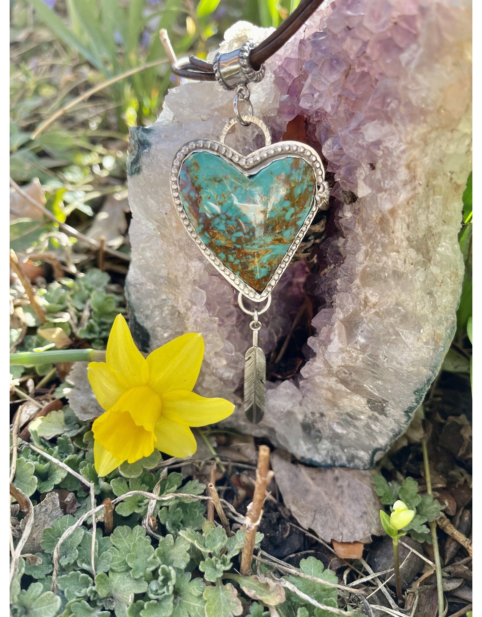 Annette Colby - Jeweler Kingman Turquoise Heart Pendant Feather Rose Necklace  by Annette Colby