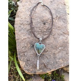 Annette Colby - Jeweler Kingman Turquoise Heart Pendant Feather Rose Necklace