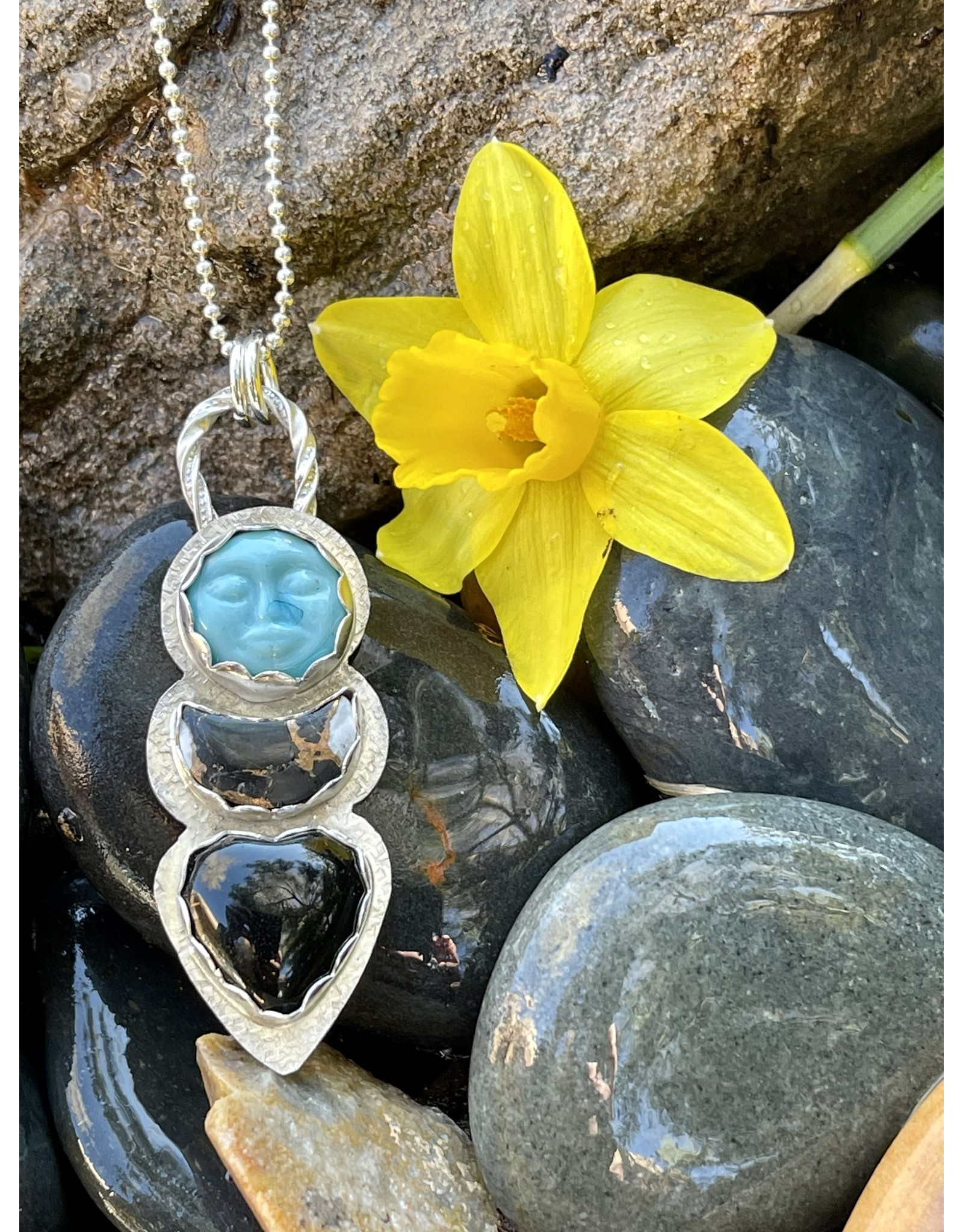Annette Colby - Jeweler Sun, Moon, Heart Triple Necklace by Annette Colby