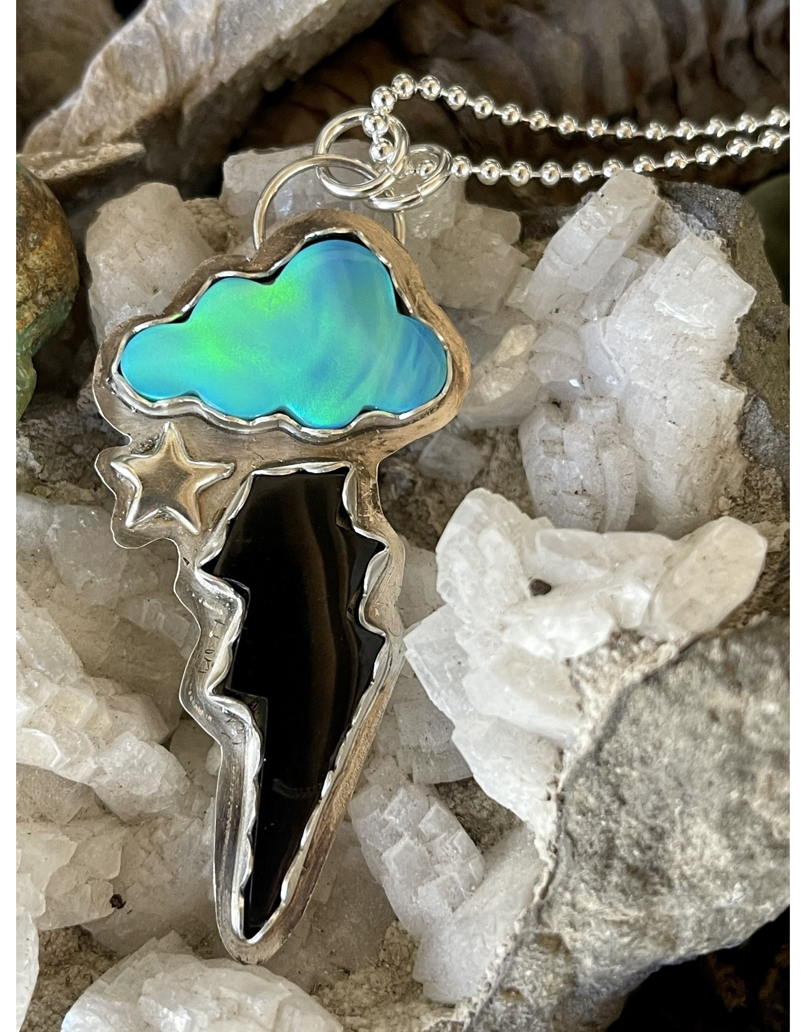 Annette Colby - Jeweler Nova Opal Cloud Jet Bolt Necklace with Star by Annette Colby