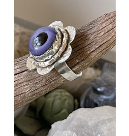 Annette Colby - Jeweler Lampwork Glass Purple Eye Ring Size 6.75
