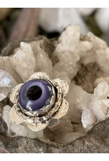 Annette Colby - Jeweler Lampwork Glass Purple Eye Ring Size 6.75 by Annette Colby