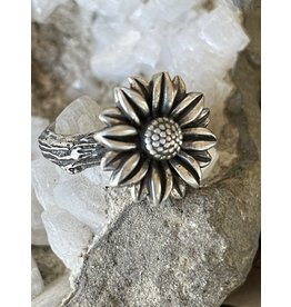 Annette Colby - Jeweler Sterling Hand Cast Sunflower on Twig Ring  Size6.5